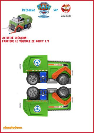 fabrique le paper toy du camion de recyclage de rocky de la pat 39 patrouille imprime vite ce. Black Bedroom Furniture Sets. Home Design Ideas