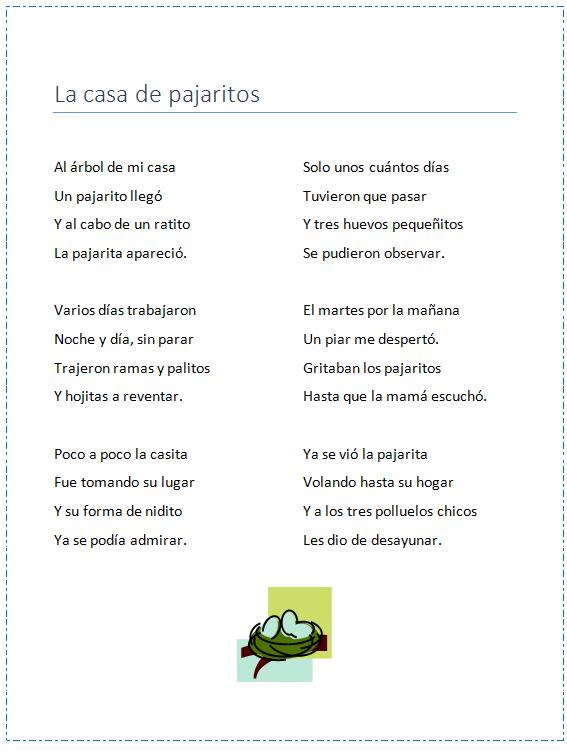 Poema Infantil Naturaleza Primavera Bilingual Education