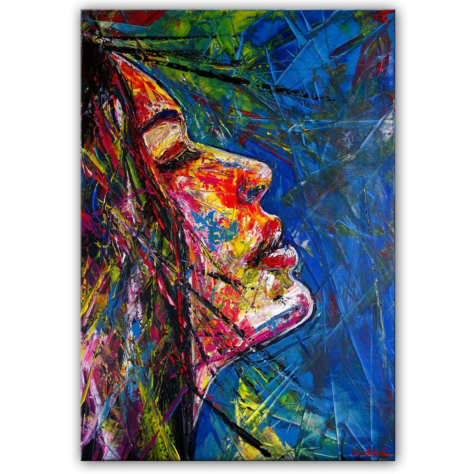 wandbild amazone malerei gesicht acryl gemalde abstrakt malen abstrakte bilder bild