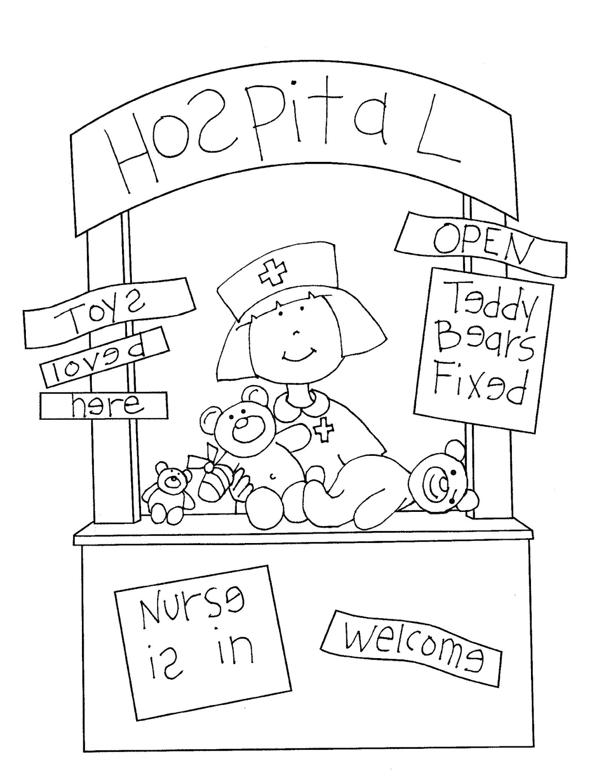 Hospital+for+Bears.png (1213×1600) | All coloring images | Pinterest