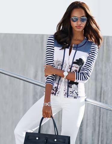 Leichte, bedruckte Damen Shirtjacke mit Reißverschluss und Ringeln