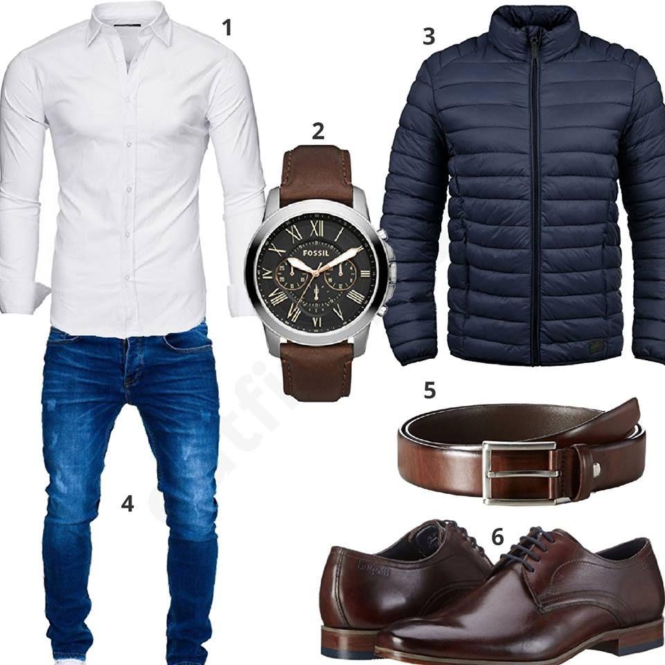 Schickes Herren-Outfit mit weißem Kayhan Hemd, blauer Merish Jeans und Blend Steppjacke, braunem Ledergürtel, Fossil Armbanduhr und Bugatti Schuhen. #outfit #style #fashion #ootd #männer #herren #outfit2017 #outfit #style #fashion #menswear #mensfashion #inspiration #shirt #cloth #clothing #styling #sneaker #menstyle #inspiration