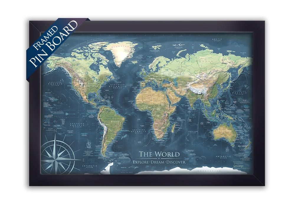 Pushpin travel map world map push pin voyager 1 elevation and voyager 2 world map framed pin board map geojango maps gumiabroncs Images