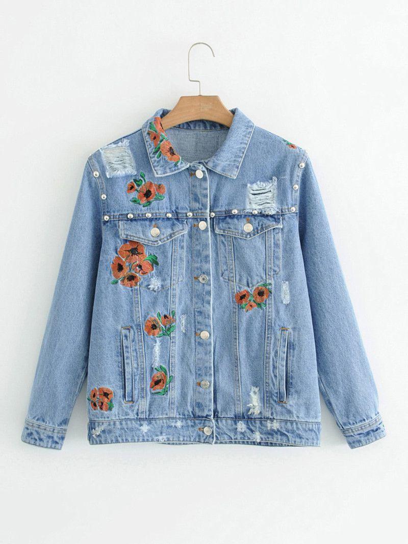 Embroidered Flower Ripped Denim Jacket Denim Jacket Embroidery Jeans Jacket Denim Details [ 1066 x 800 Pixel ]