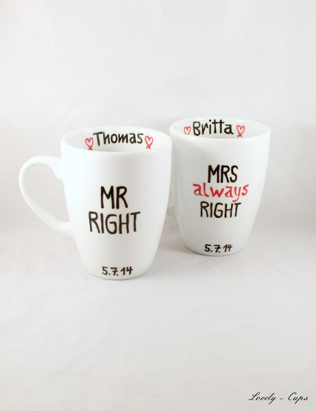 Mrs Always Right Mr Right Hochzeitsgeschenk Tassen Etsy Personalisierte Hochzeitsgeschenke Hochzeit Tassen Hochzeitsgeschenk