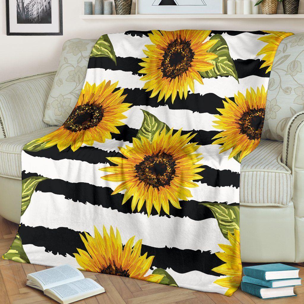 Sunflower Striped Pattern Print Blanket