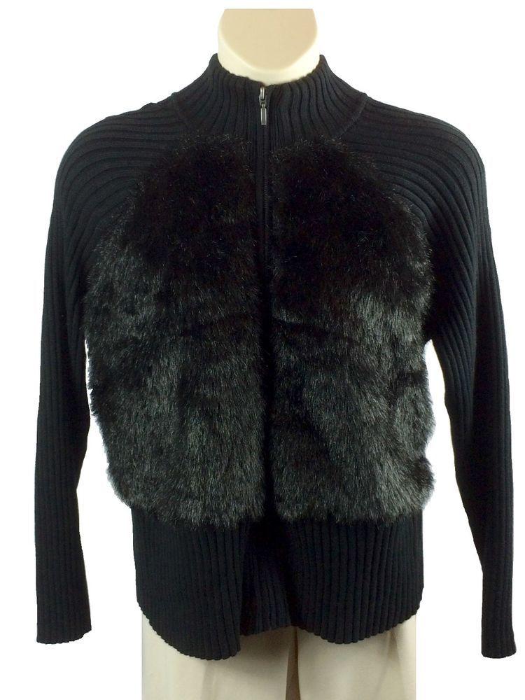 f93042f3df1 Womens Relativity Black Faux Fur Sweater Jacket Cardigan Plus Size 2X  Cotton Zip…