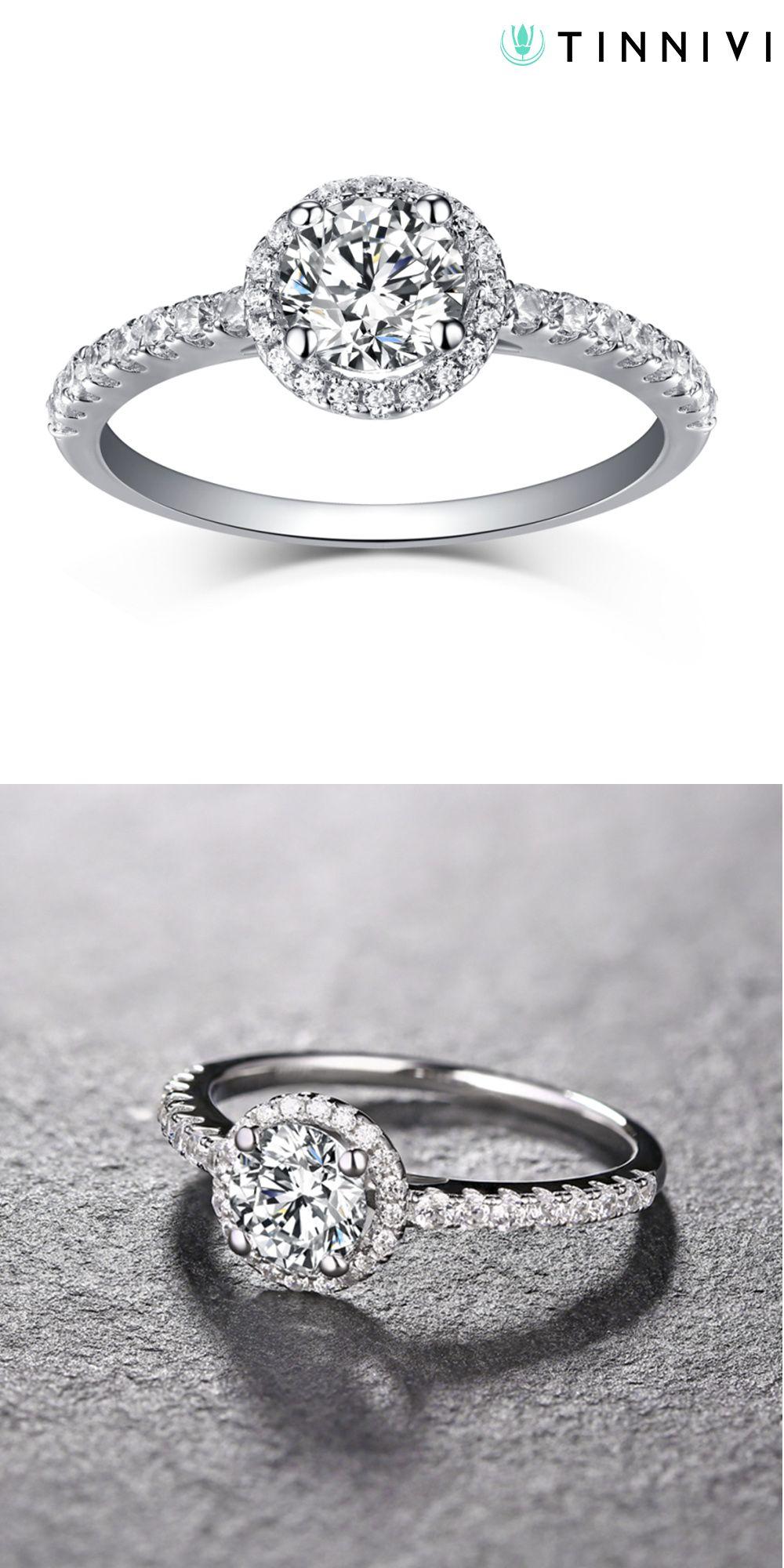 Tinnivi Round Cut Created White Sapphire Sterling Silver Halo