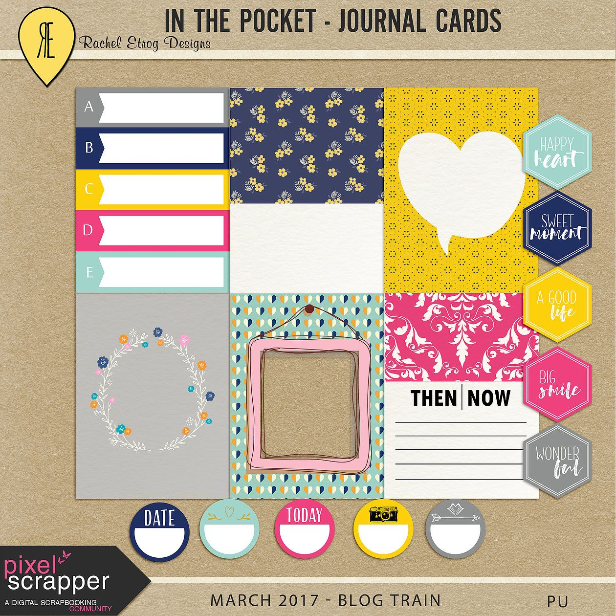 FREE Printable Journal Cards from Rachel Etrog Designs  | Pixel Scrapper March 2017 Blog Train
