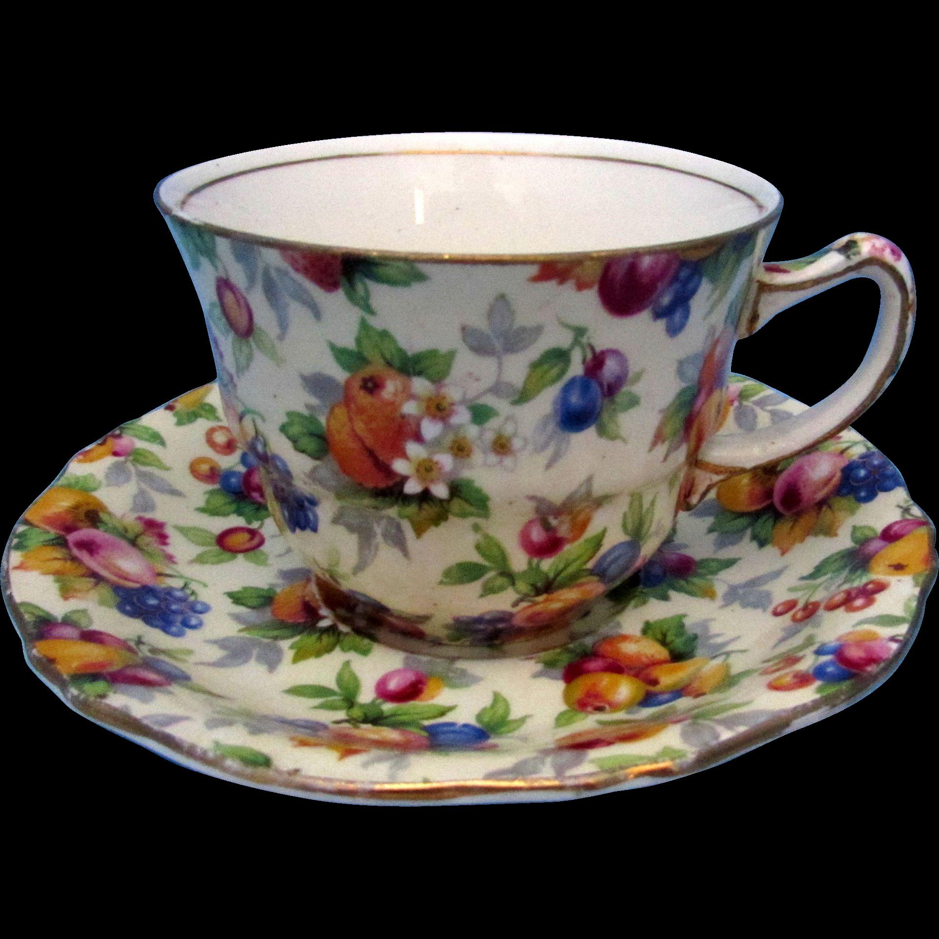 Royal Winton Evesham Chintz Cups And Saucers Vintage Bone China  ~ Tazas Para Infusiones El Corte Ingles