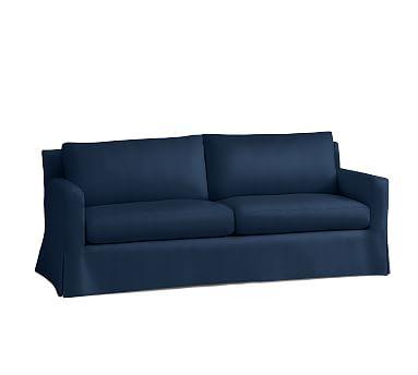"""York Square Arm Slipcovered Loveseat 60"""", Down Blend Wrapped Cushions, Performance Everydayvelvet(TM) Navy"""