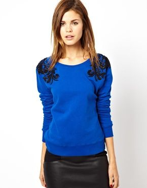 Image 1 of French Connection Antoinette Sweatshirt with Beaded Shoulders