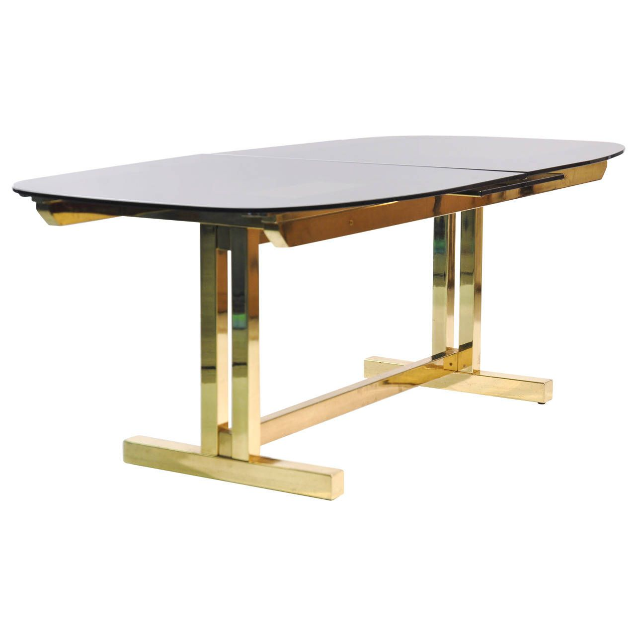 Smoked Glass Extendable Brass Dining Table With Images Brass