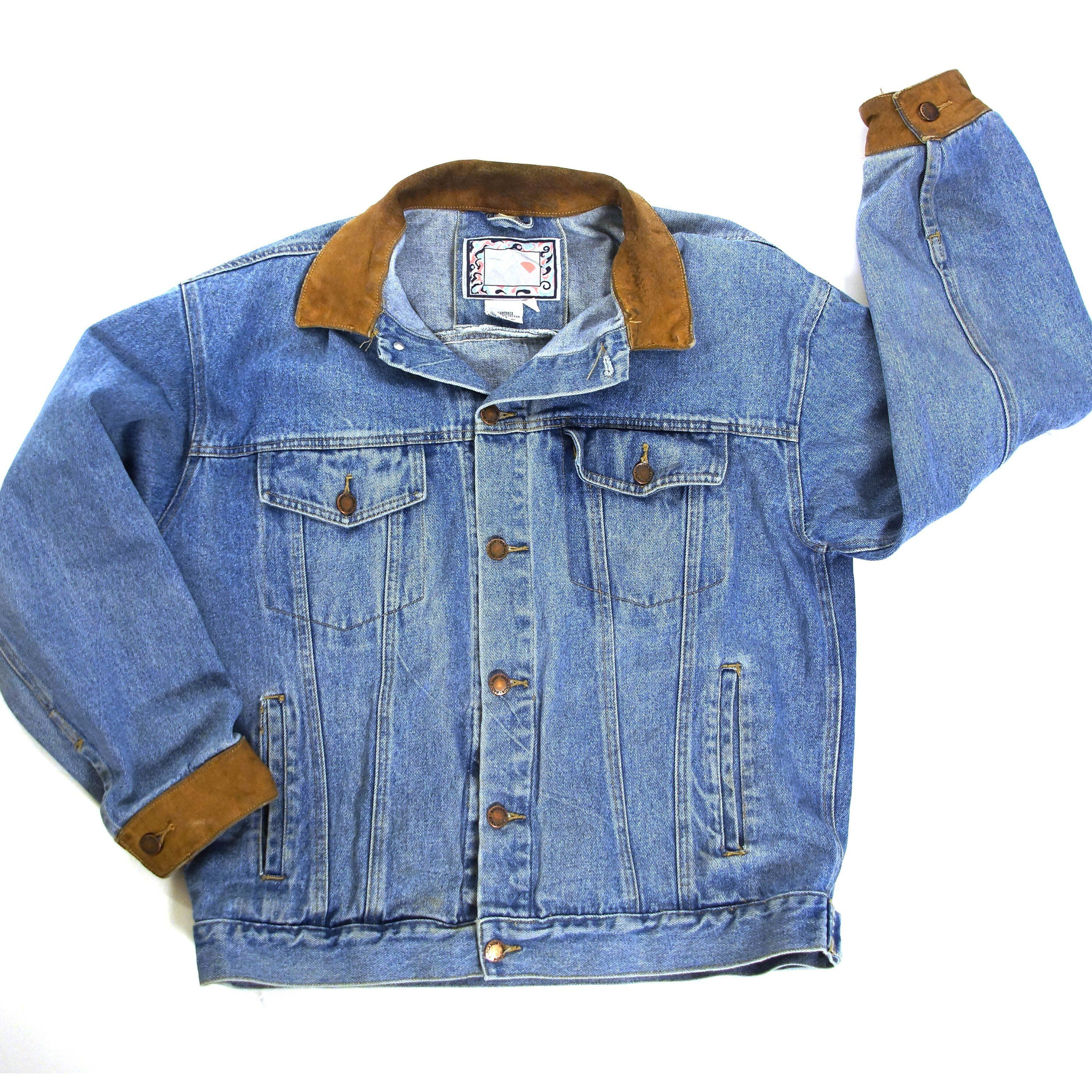 Distressed Denim Jacket Vintage 80s Classic Trucker Jeans Jacket With Leather Trim Unisex 46 Chest By Spu Distressed Denim Jacket Vintage Denim Jacket Jackets