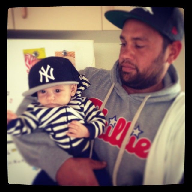 "Yankees hat ""Our little Marley boy • 3 months today  #marley #babymarley #3months #babyswag #yankees #culturekings @culturekings"""