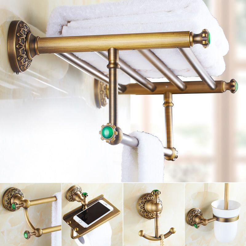 Emerald Brass Green Stone Bathroom Hardware Set Antique Carved - Where to buy bathroom hardware