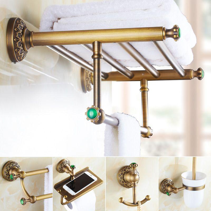 emerald brass green stone bathroom hardware set antique carved brushed bathroom hardware accessories shelf combination sets gs0 - Bathroom Hardware Sets