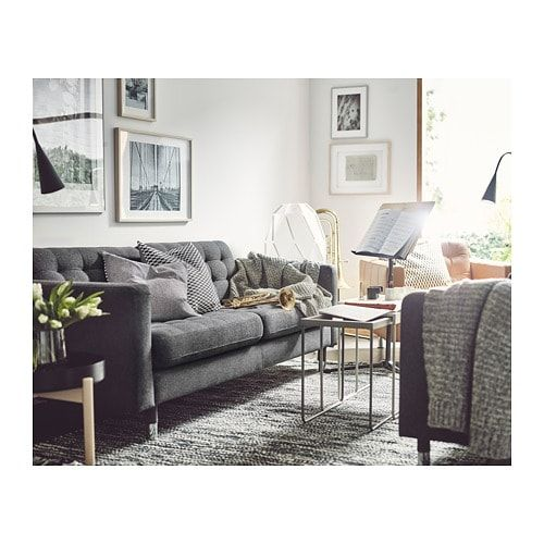 Inexpensive Cottage Style Living Room Furniture From Ikea: LANDSKRONA Sofa - Gunnared Dark Gray/metal