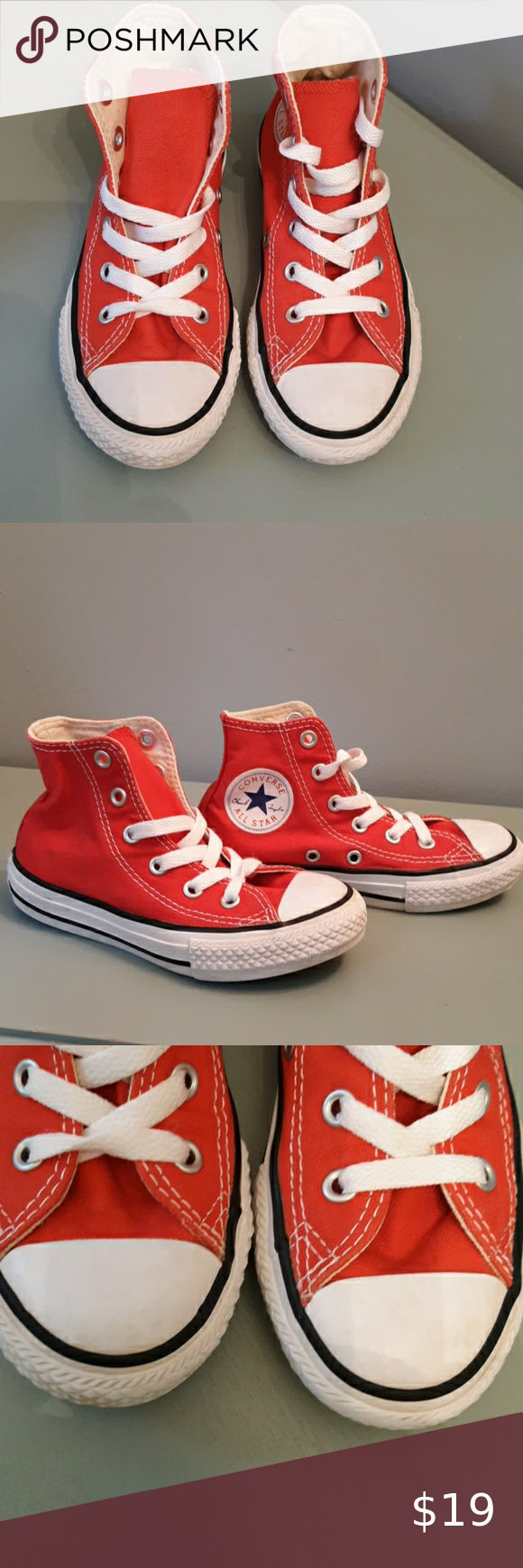 Converse All Star High Top Sneakers Red and white hightop size 11 ...