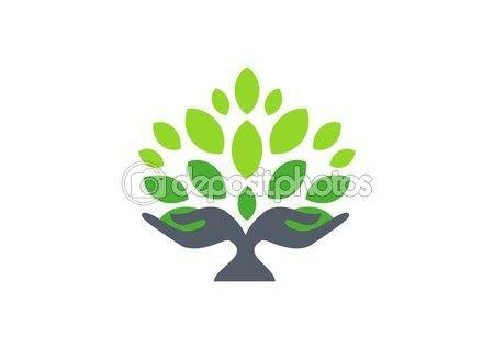 hand logo, hand tree nature wellness health symbol icon — Stock IllustrationTree hand logo, hand tree nature wellness health symbol icon — Stock Illustration