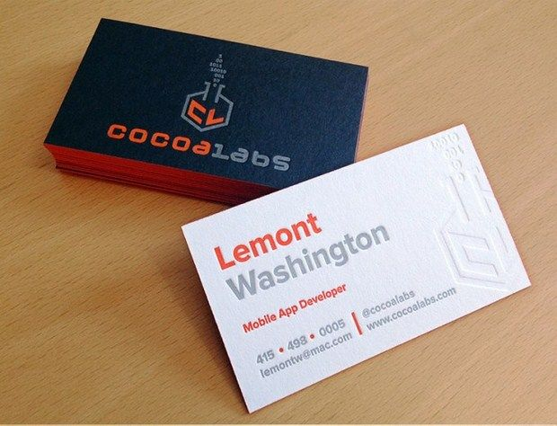 Cocoalabs Letterpress Business Cards Business Card Inspiration Examples Of Business Cards Business Card Design Creative
