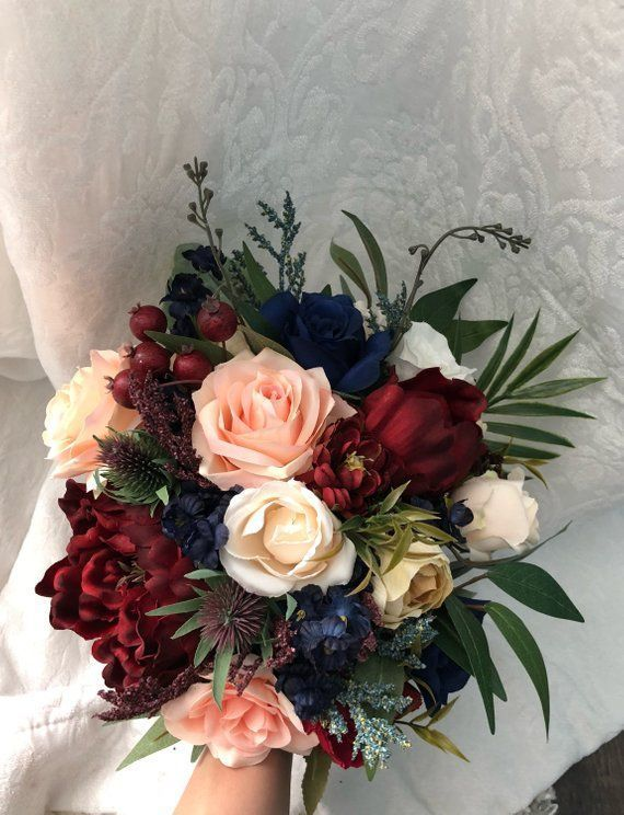 Photo of Wedding Bouquet Burgundy Navy Blue Red Peony Eucalyptus Wedding Maroon Package Handmade Artificial Faux Flowers Wedding Decor