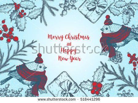 Christmas greeting card or invitation design Vintage background