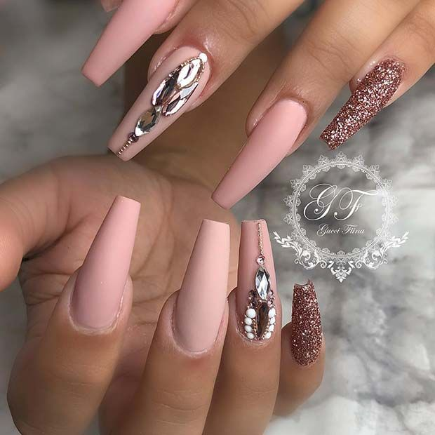 23 Must Try Rose Gold Nail Art Designs Stayglam Rose Gold Nails Acrylic Rose Gold Nails Gold Acrylic Nails