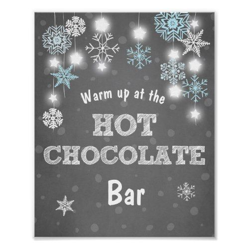 Hot Chocolate Bar Sign Blue snowflakes Rustic | Zazzle.com #chilibar