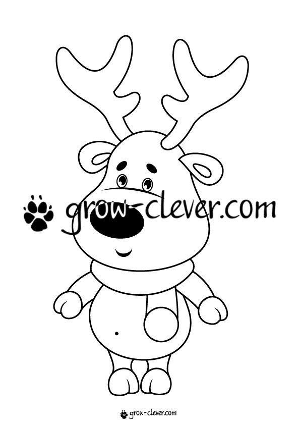 Раскраска олень, игры для детей на тему зима, новый год ...