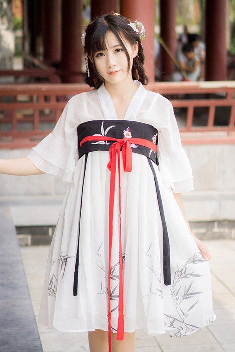 Women Chinese Vintage Lolita Ruqun White Chiffon Printed Hanfu Dress ...