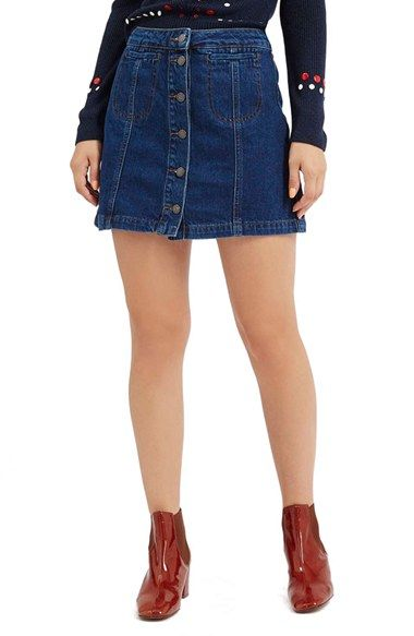 Topshop Button Front Denim Skirt (Mid Denim) (Petite) available at ...