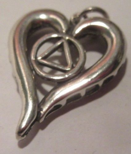 Sterling Silver Alcoholics Anonymous Aa Symbol In Heart Pendant Jewelry