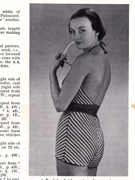 Free Vintage Knit Pattern from the 1940s : Chevron Striped Bathingsuit