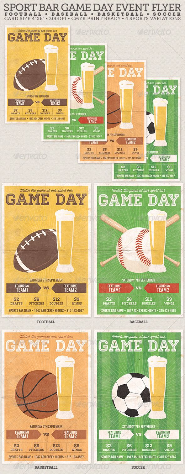 Game Day Sport Bar Flyer Template – Sports Flyer Template