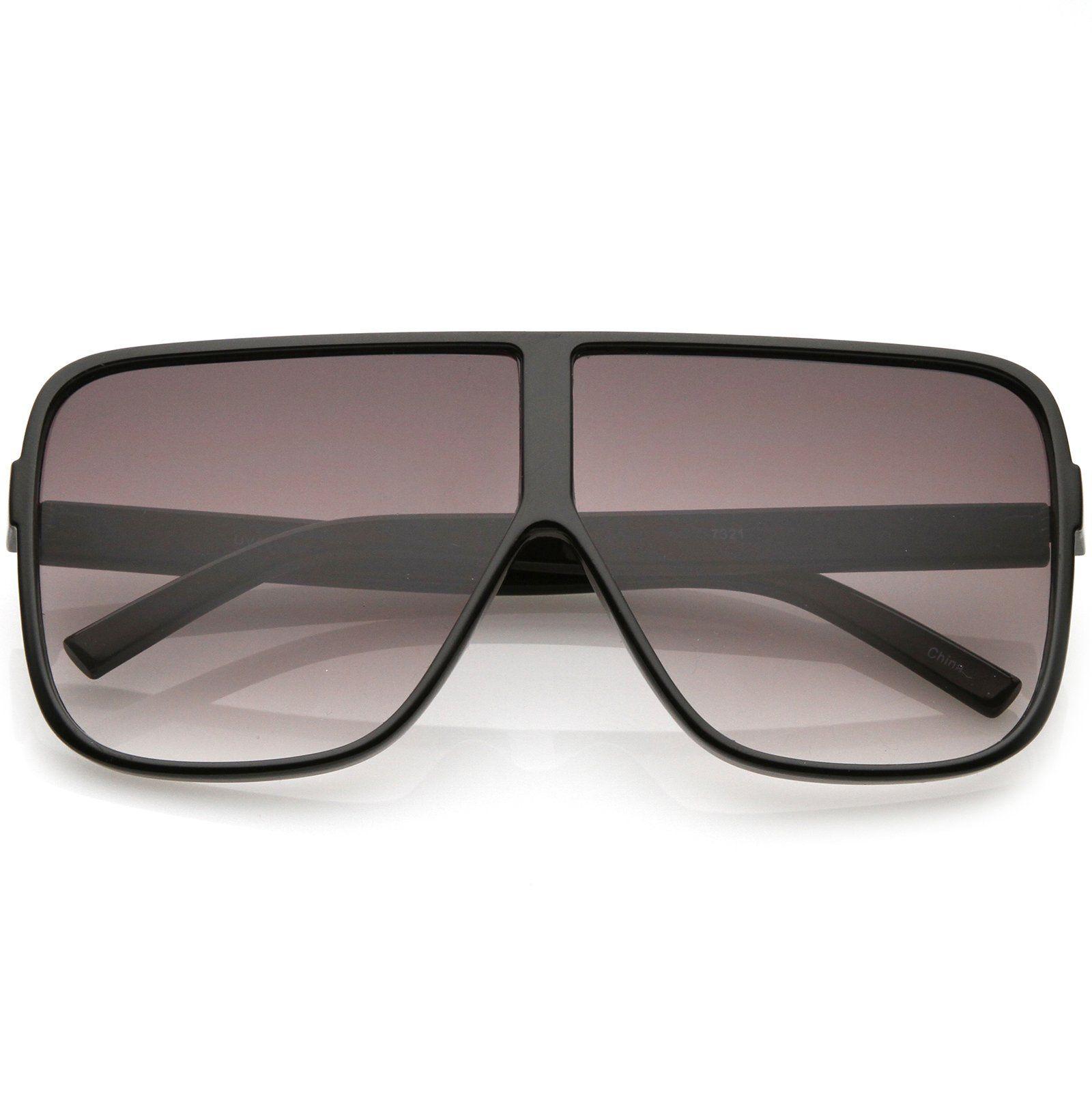 8bbff0401c6 Super Oversize Square Sunglasses Flat Top Neutral Color Flat Lens 69mm  (Black   Lavender)