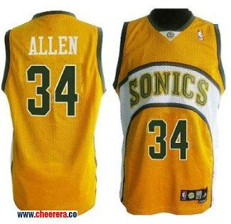 best website 3f12e ec9e6 discount nba jerseys seattle supersonics 34 ray allen yellow ...