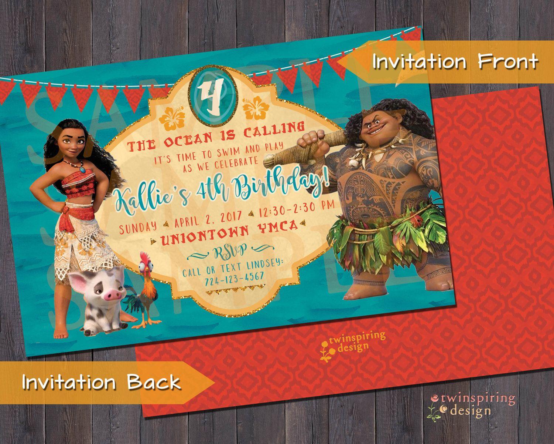 Moana maui birthday party invitation andor thank you notes with moana maui birthday party invitation andor thank you notes with envelopes by twinspiringdesign stopboris Image collections