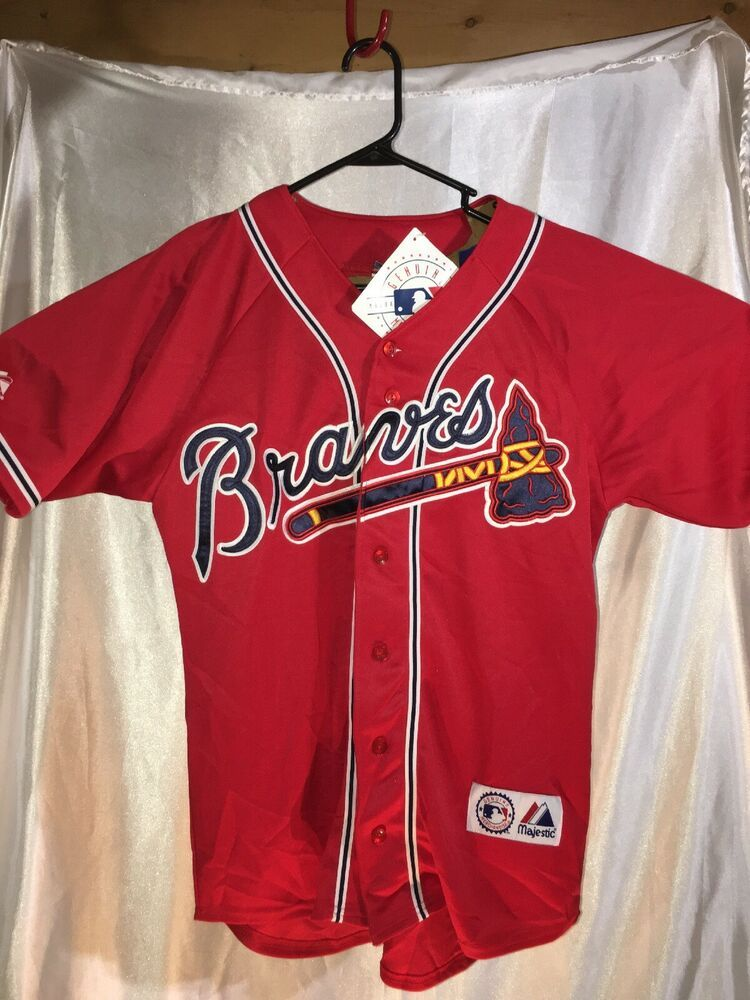 dbbdbe00 Majestic Mens Atlanta Braves MLB Jersey Size M Baseball Vintage Authentic  Sewn | eBay