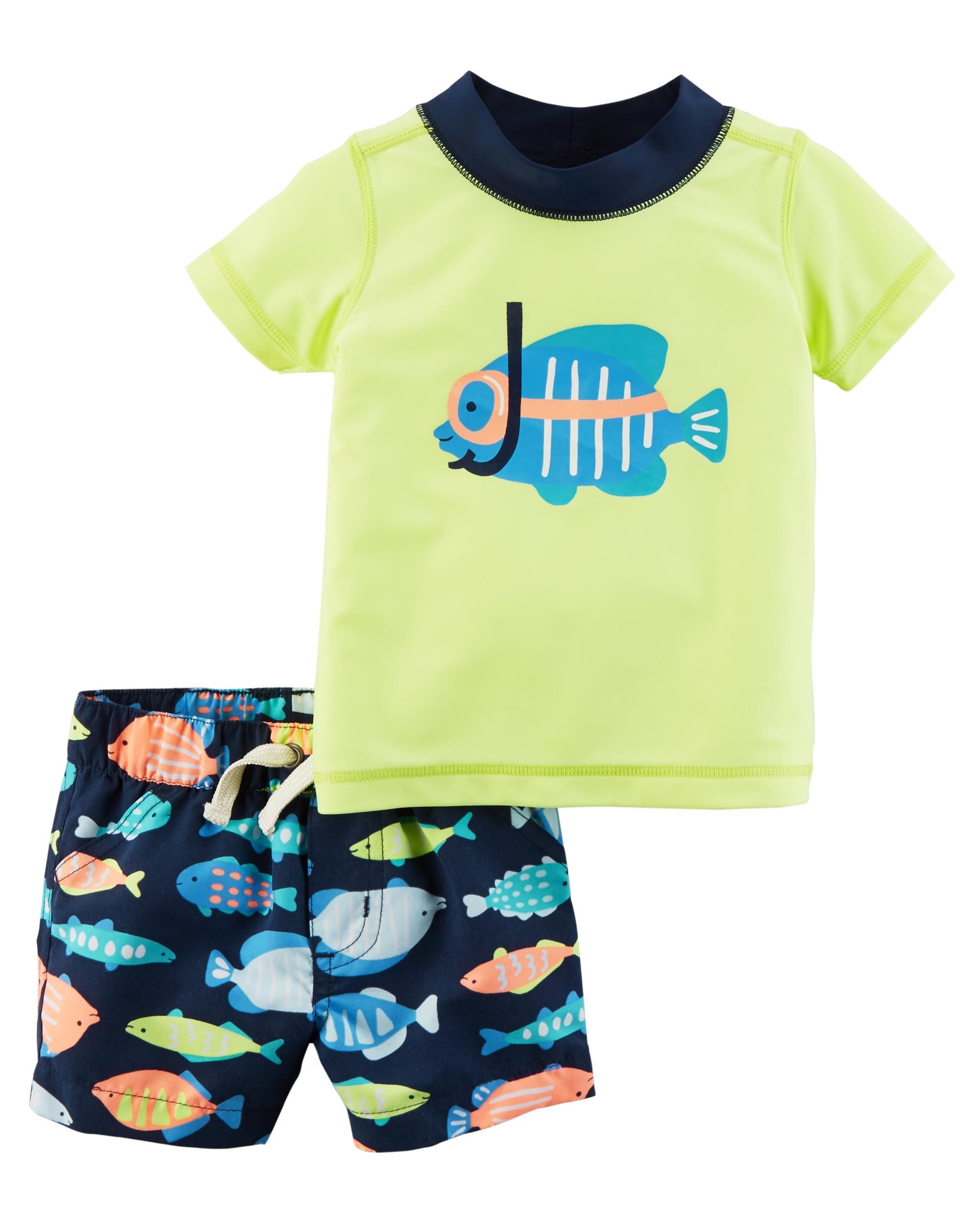 ea33f49493 With UPF 50+ sun protection and cute fish prints, this 2-piece rashguard  set will keep him cute and protected all day long.