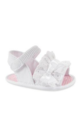 Nursery Rhyme  White Gathered Eyelet Sandal