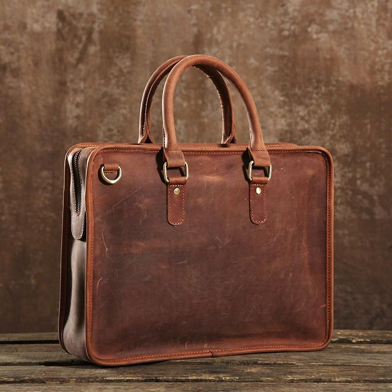 c72dcf12dc9 Handmade Leather Mens Cool Messenger Bag Briefcase Work Bag Business B –  iwalletsmen