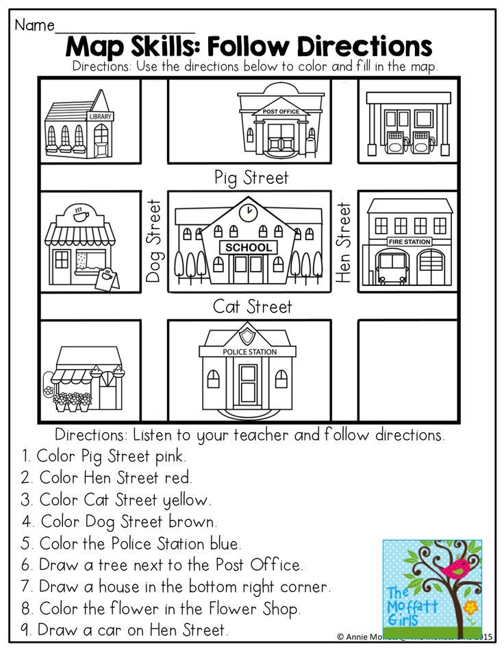 April NO PREP Packet Kindergarten – Map Directions Worksheet