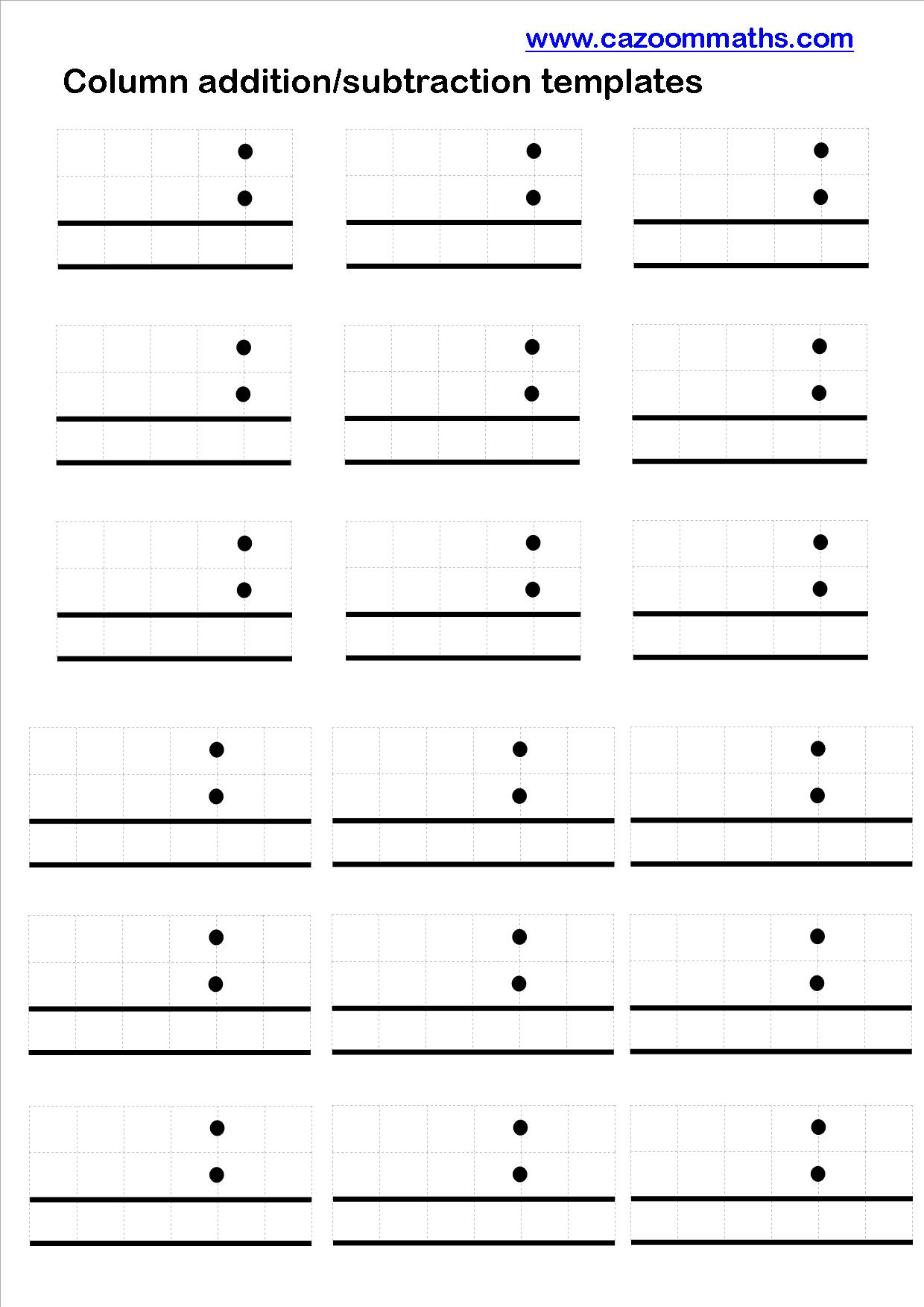 adding and subtracting decimals column templates teaching pinterest fun math worksheets. Black Bedroom Furniture Sets. Home Design Ideas