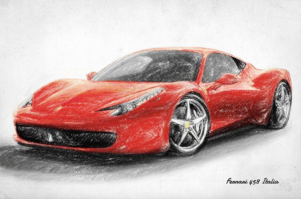 Ferrari 458 Italia, Drawing, Sketch, Super Car, Sports Car, Classic Car
