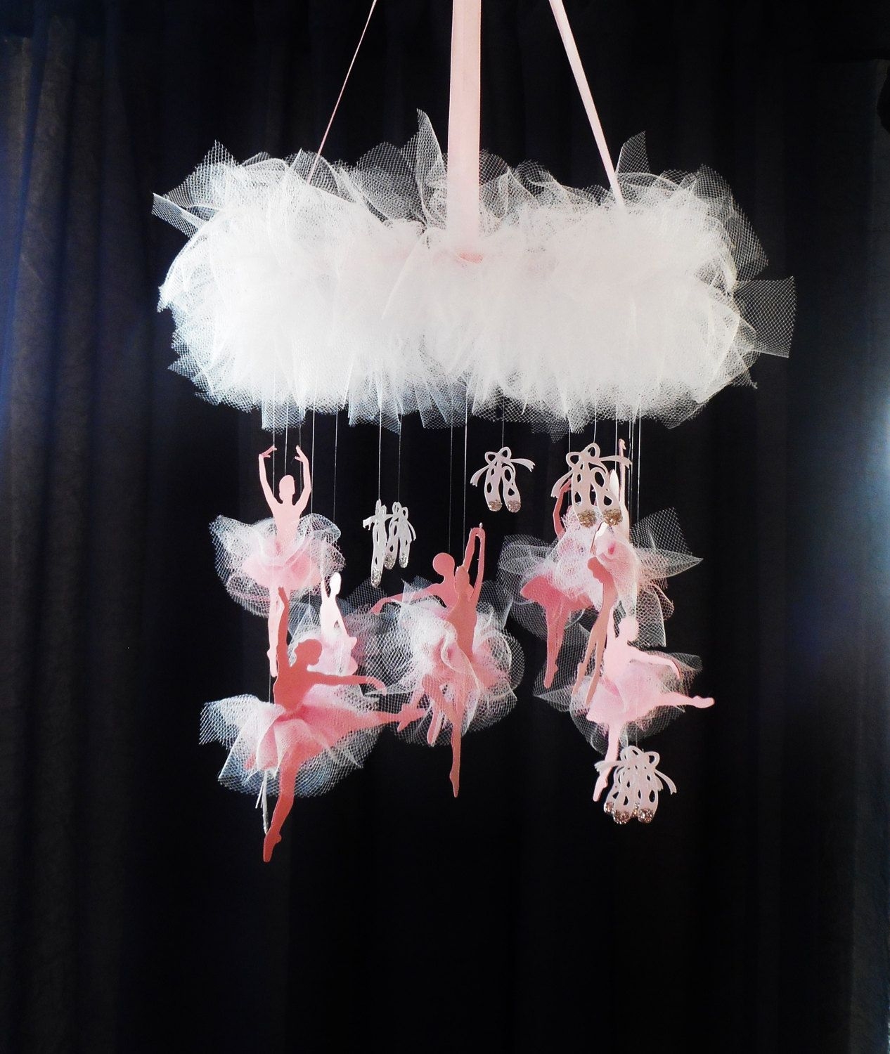 Ballet Mobile White And Pink Ballerina Decor Baby Pink