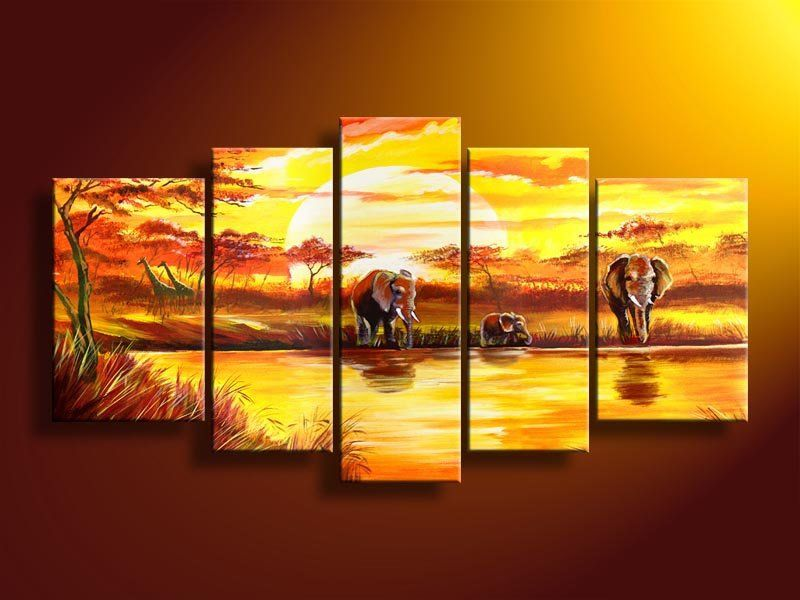 hand painted Free shipping wall art africa animals beauty picture ...
