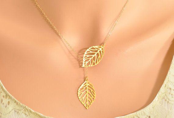 Gold Leaf Lariat - double leaf lariat, double leaf pendant, mini leaf lariat. $32.00, via Etsy.