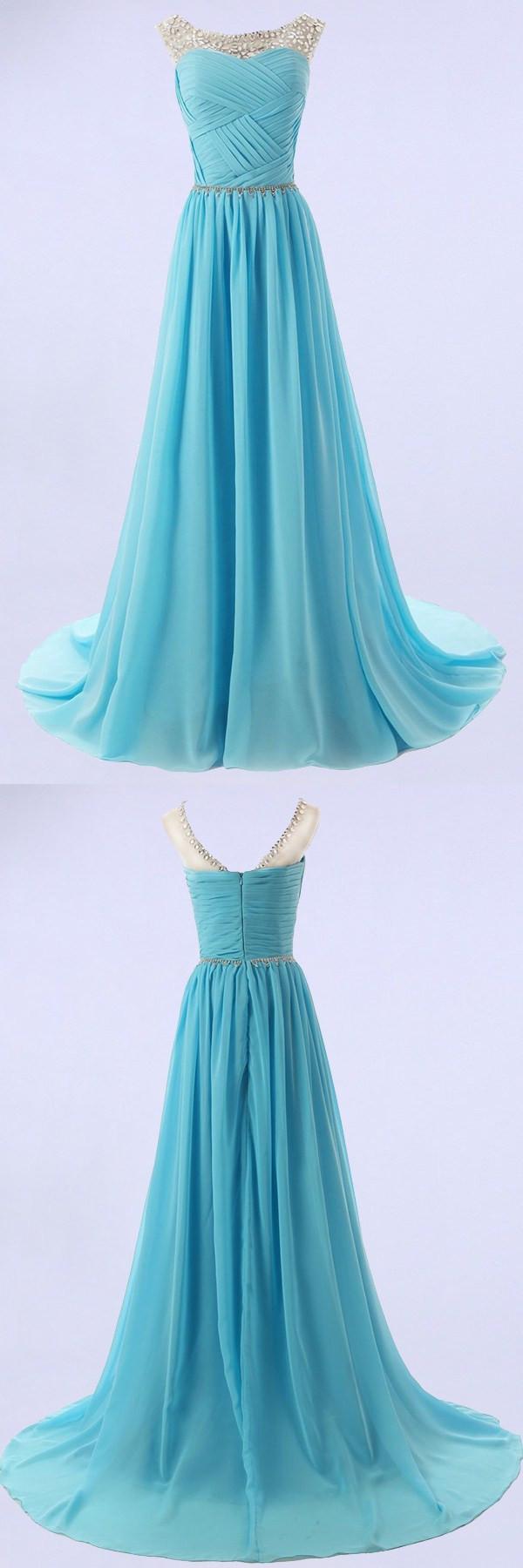 Elegant aline scoop sweeptrain bridesmaidpromhomecoming dress