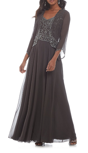 7c847e9bf99 Charcoal evening dress with coordinating sparkle jacket  MotherOfTheBride